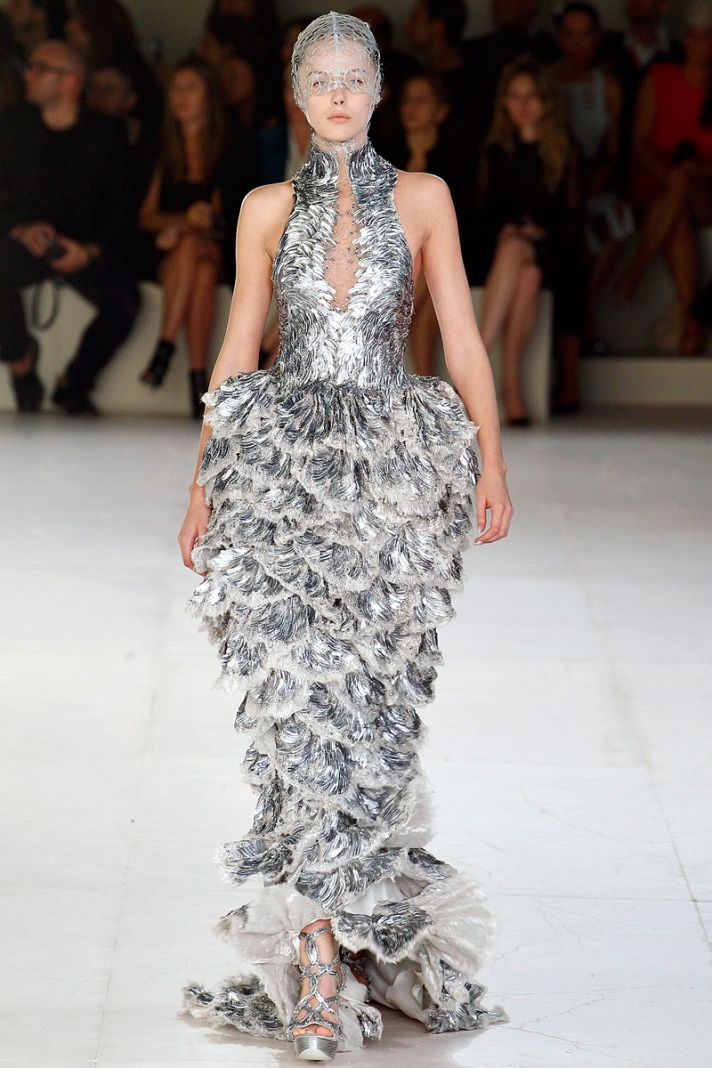 Silver gown from Spring 2012 collection by Sarah Burton for Alexander McQueen