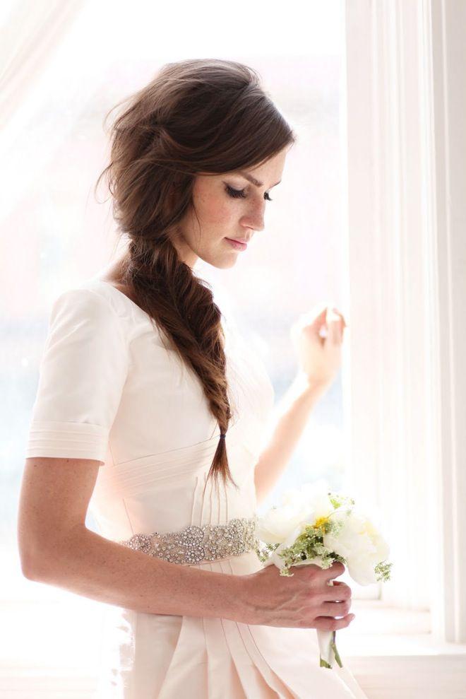 Soft side braid for romantic wedding day look