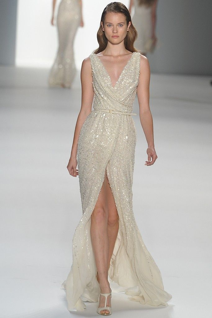Elie saab ivory beaded gown via wwd com