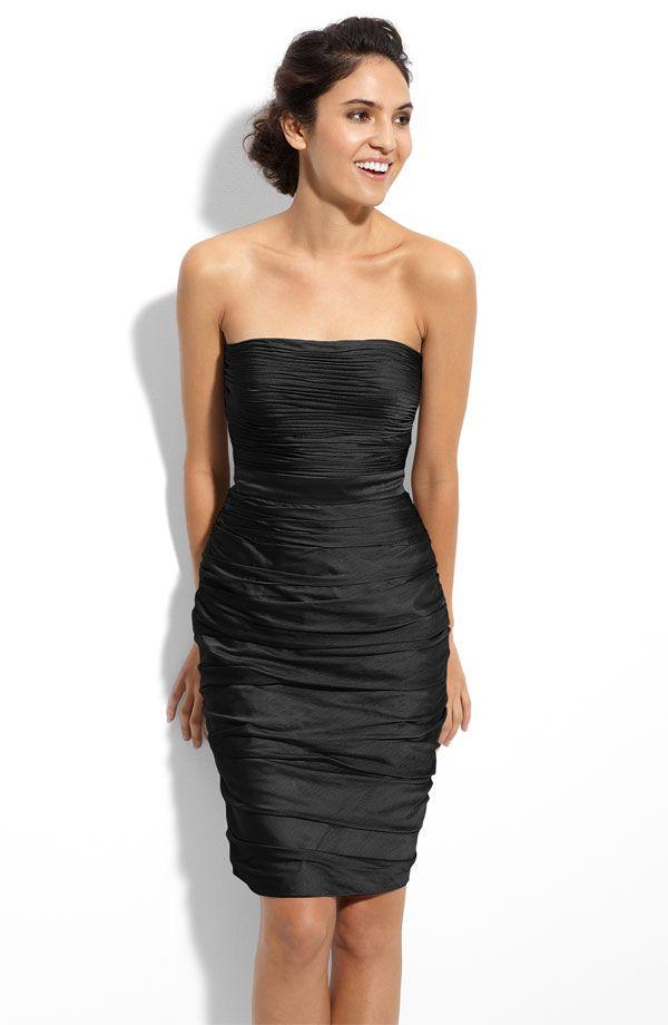 ML Monique Lhuillier Bridesmaids Strapless Ruched Cationic Chiffon Dress