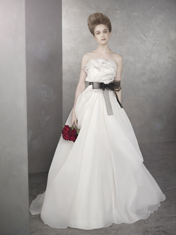 Romantic White by Vera Wang wedding dress with black sash