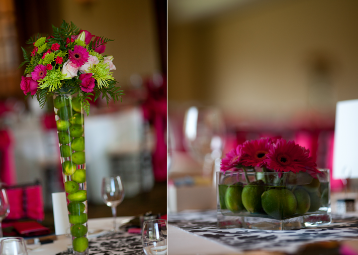 Lime green and hot pink wedding reception decor and wedding flowers