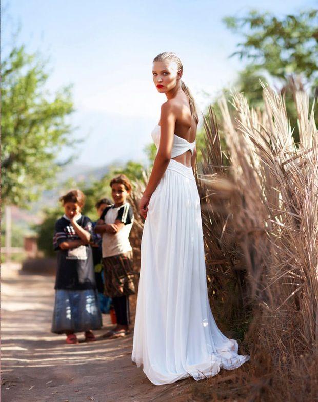 Open back modified mermaid wedding dress