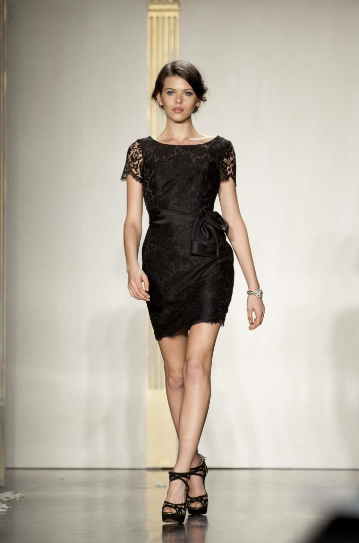 Short black bridesmaid dress with lace cap sleeves