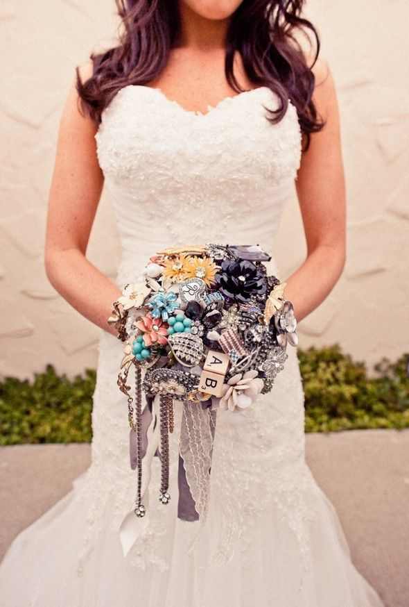 Vintage bridal bouquet, lace wedding dress