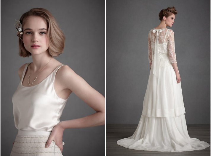 BHLDN wedding dress separates for vintage inspired brides and bridesmaids- 2011 feather trend