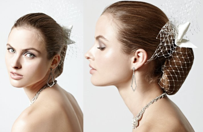 Sleek-wedding-hairstyle-vintage-birdcage-veil