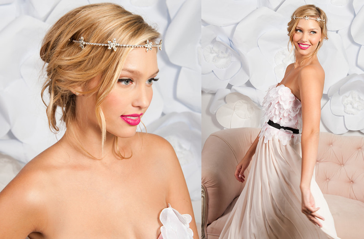 Tessa Kim wedding hair accessories and veils rhinestone floral headband
