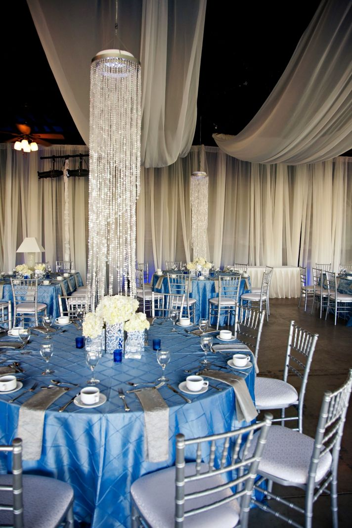elegant spring wedding with blue, silver, ivory wedding color palette- wedding venue, decor details