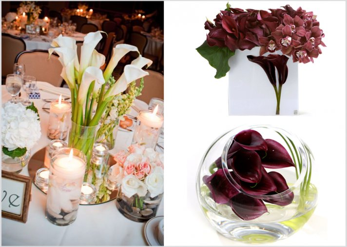 Calla lily wedding flowers- affordable wedding reception centerpieces