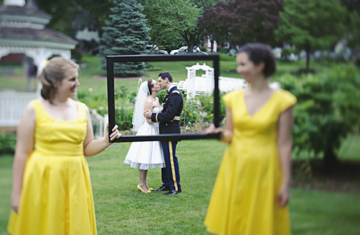 Yellow-bridesmaids-dresses-military-wedding
