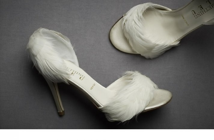 BHLDN wedding shoes- feather-adorned d'orsay pumps