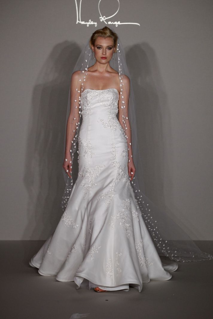 See hayley paige 39 s debut wedding dress collection onewed for Heart shaped mermaid wedding dresses