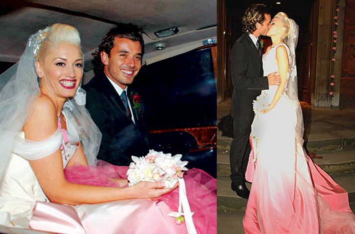 Celebrity brides by style Gwen Stefani daring bride in nonwhite wedding
