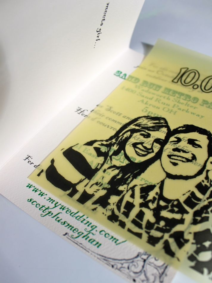 Custom wedding invitations designed by the groom- portrait of the couple