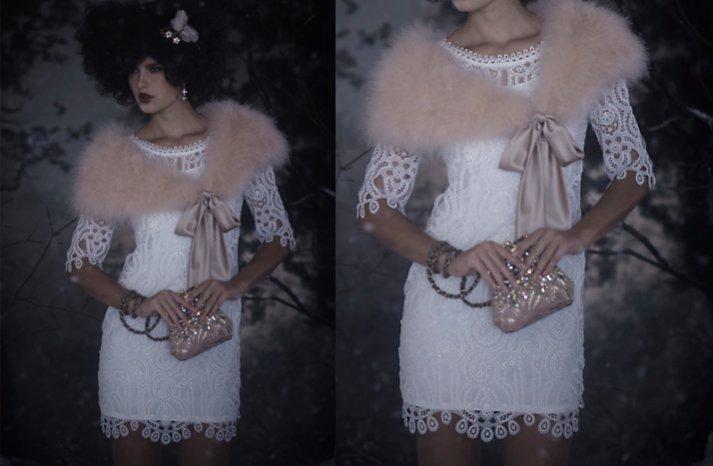 bhldn little white dress fur shrug