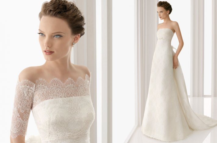 off-the-shoulder lace wedding dress, 2012 rosa clara