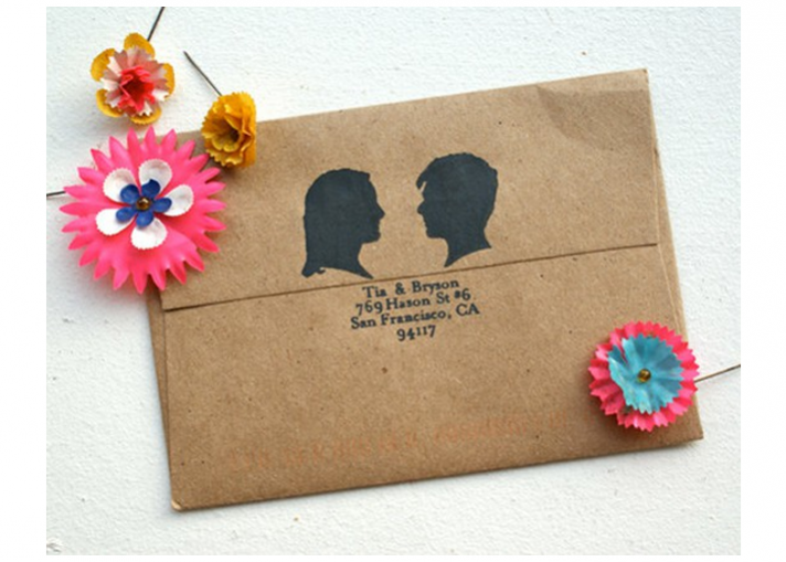 Silhouette wedding invitation inspiration recycled wedding invite envelope