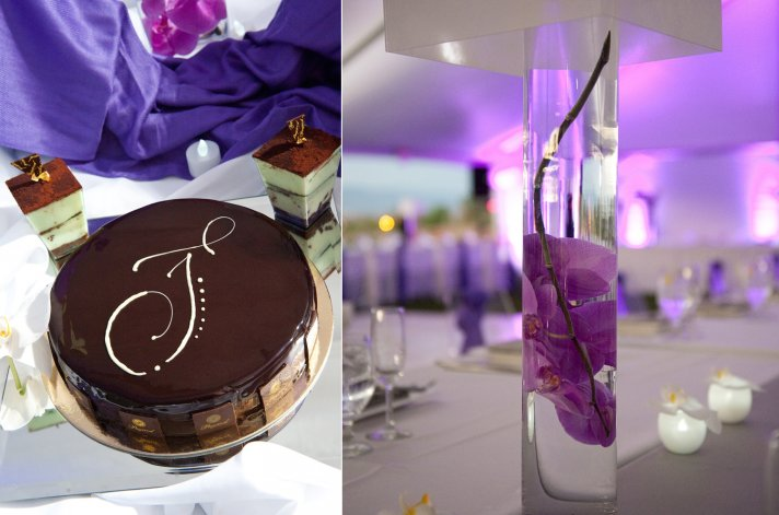 modern DIY wedding reception centerpieces with purple orchids, colorful dessert bar