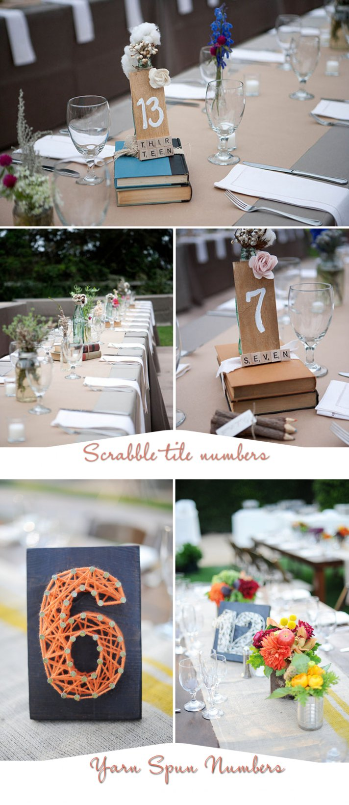 unique wedding reception table number ideas- scrabble tiles and homespun yarn