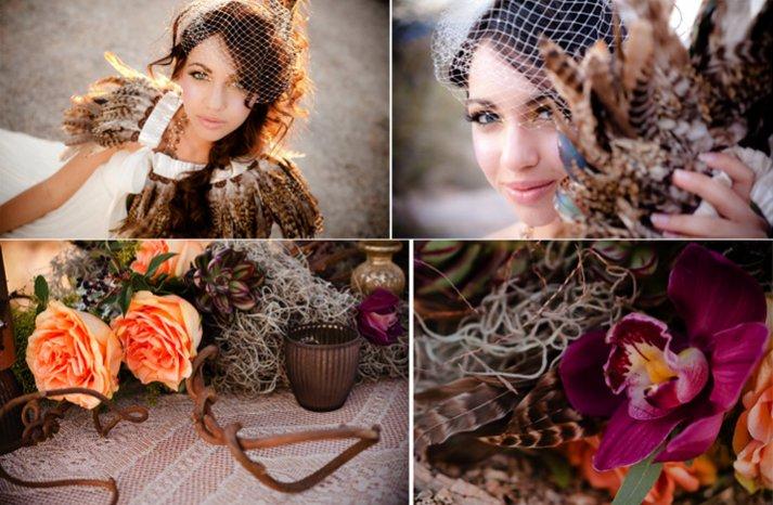 feather adorned bride pink orange wedding flowers