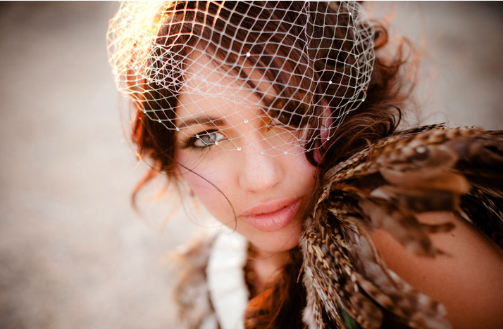 desert chic bride birdcage bridal veil feather bolero