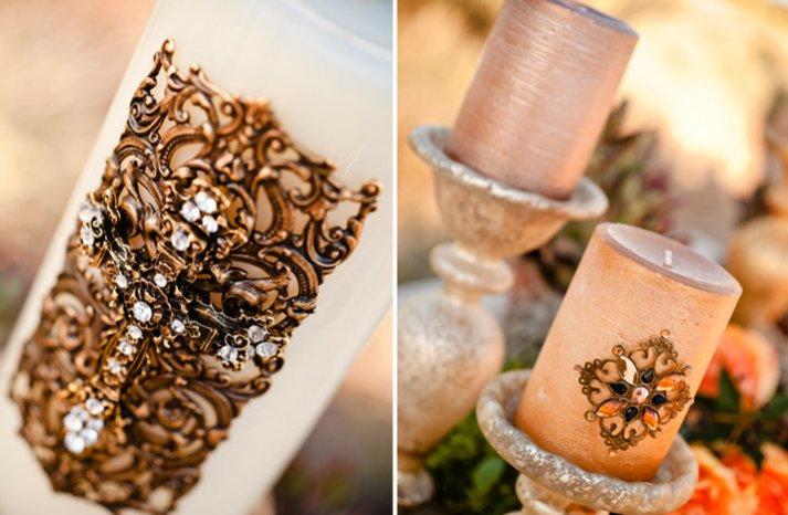 gold wedding ceremony candles desert chic bridal style