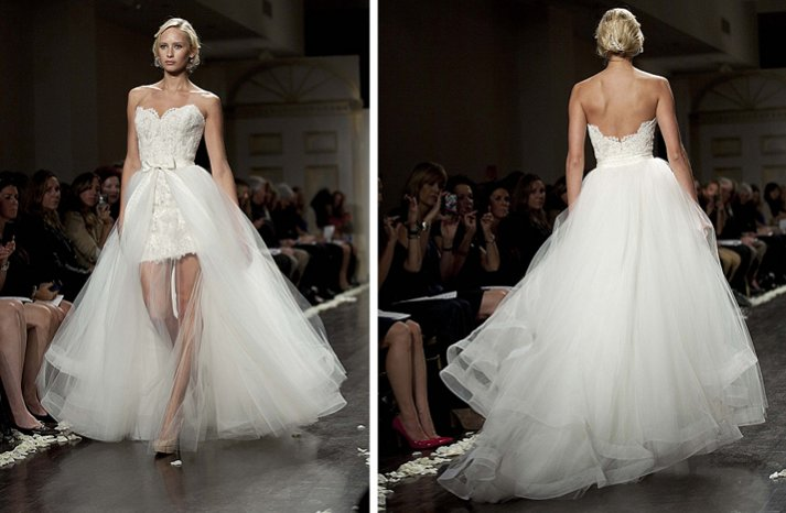 strapless 2 in 1 wedding dress lace 2012 bridal gowns