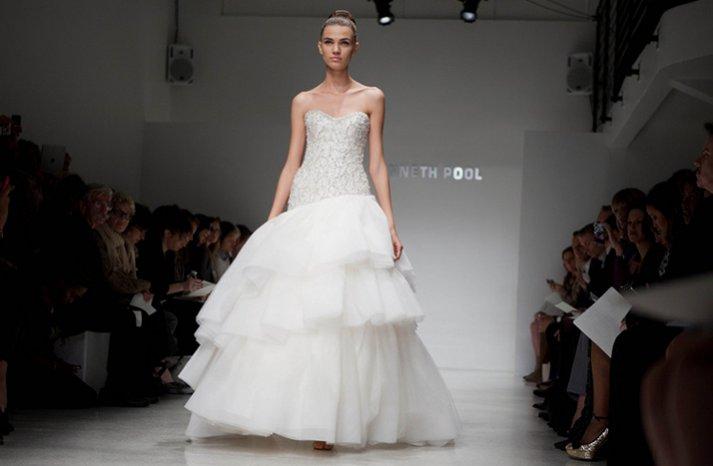 drop waist ballgown 2012 wedding dress beaded bodice