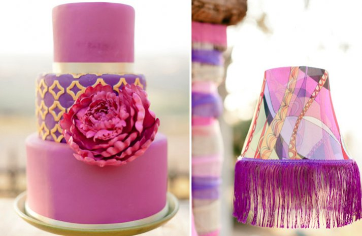 girly pink purple wedding cake