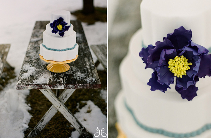 winter wedding white purple wedding cake Credit Jessica Claire