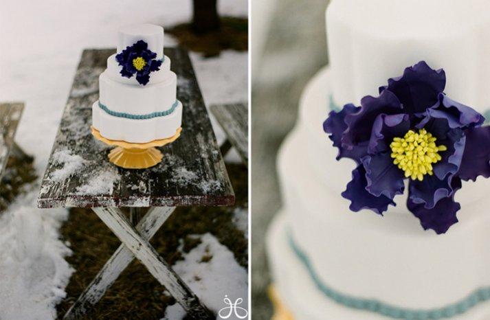 winter wedding white purple wedding cake