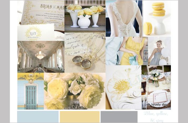 Yellowbluegreyvintageweddingcolors