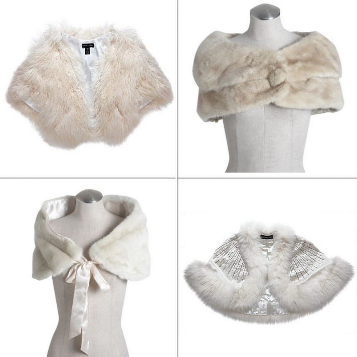 Fur shrugs by Adrienne Landau Taikonku and Lotus Bridal photos via NYMag