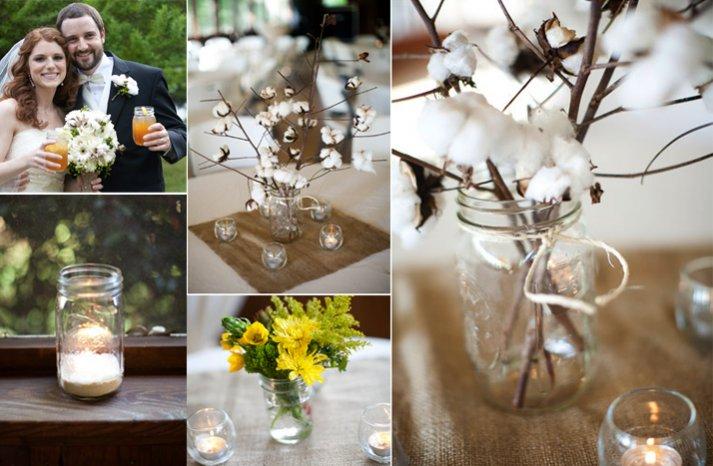 vintage inspired wedding decor DIY mason jars