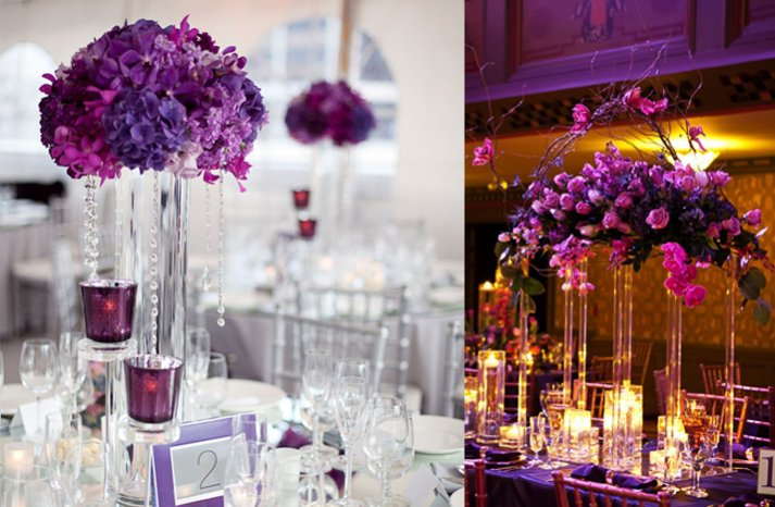 purple wedding centerpieces high topiaries