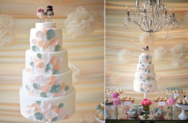 white wedding cake pastel leaves
