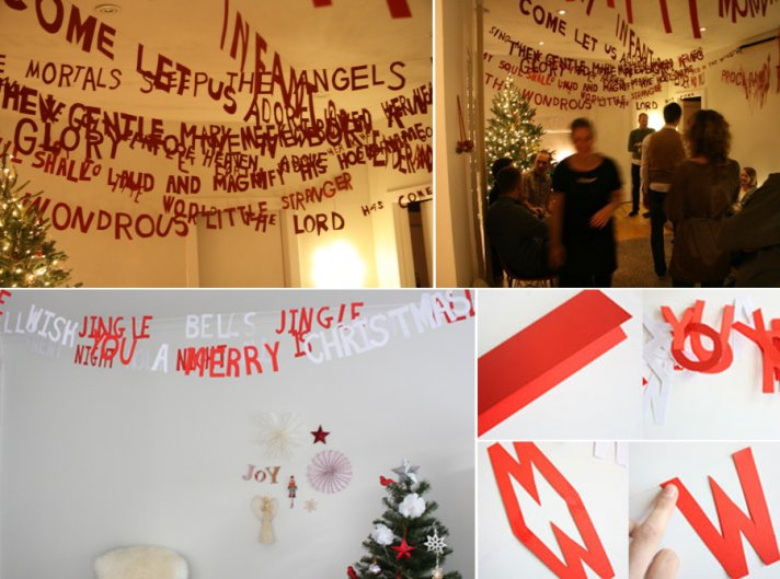 Winter wedding decor ideas- text garland in red and white