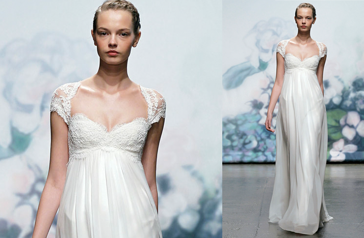 Monique Lhuillier 2012 empire wedding dress with lace cap sleeves