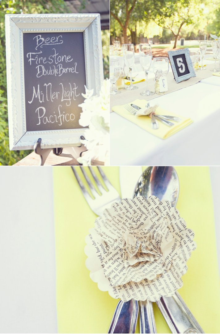 yellow white vintage wedding reception decor chalkboard chic
