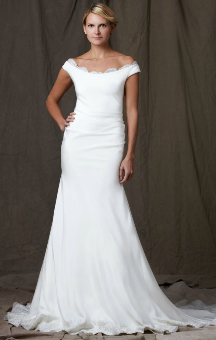 lela rose 2012 wedding dress white off the shoulder bridal gown