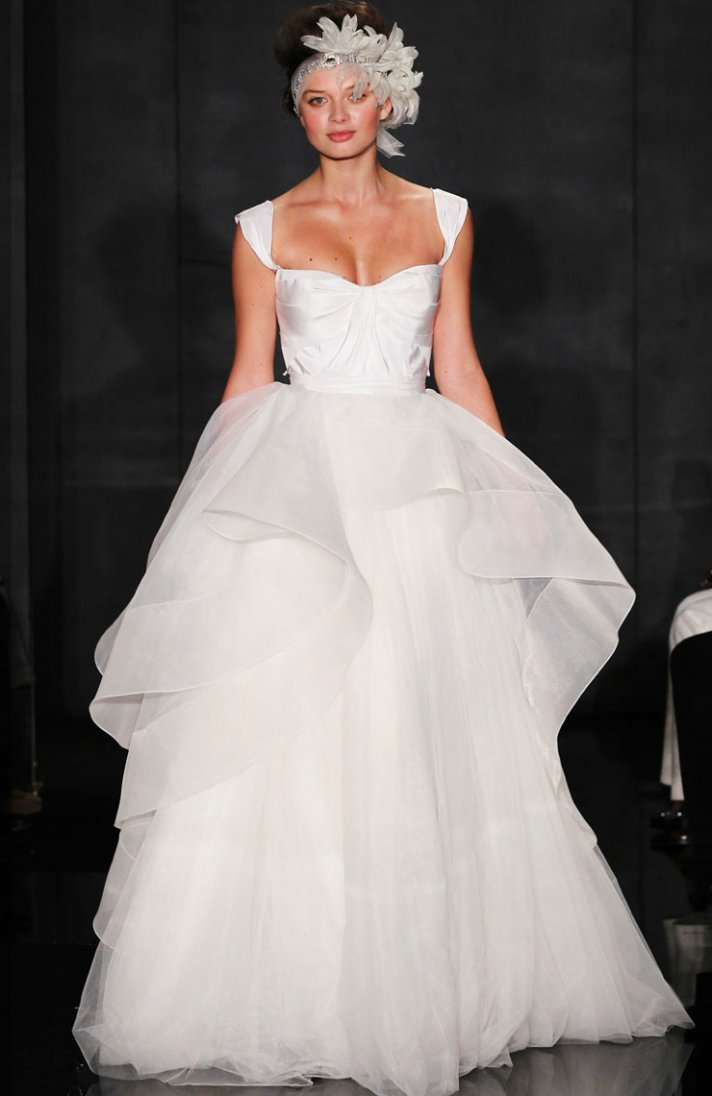 reem acra 2012 wedding dress ballgown peplum