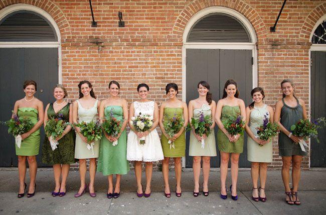 green bridesmaids dresses mix match