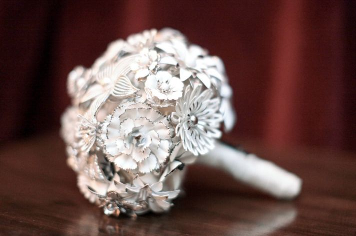 Custom vintage brooch bridal bouquet