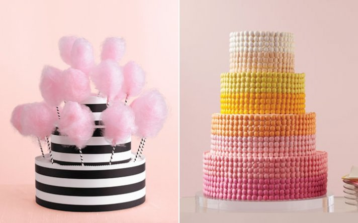 Chic wedding cakes adorned with sweet candy, pink cotton candy