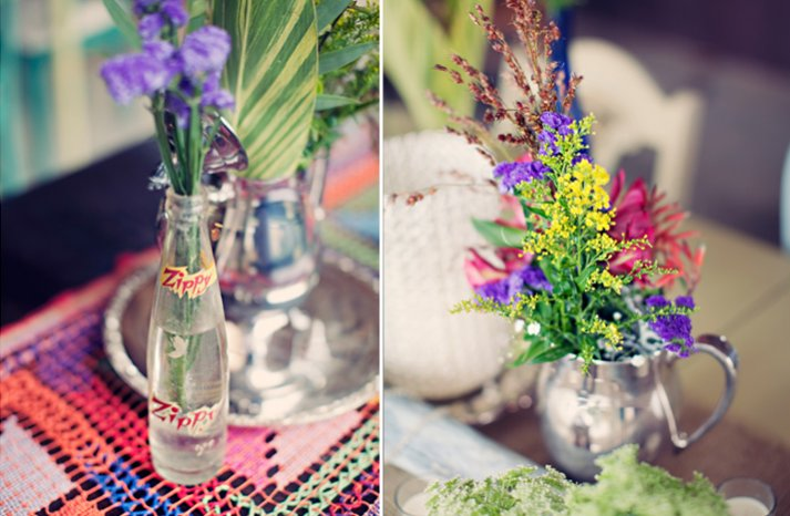 outdoor wedding colorful wild flowers centerpieces
