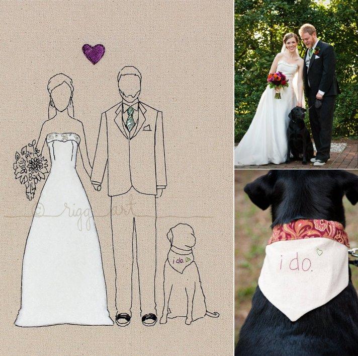 wedding portraits handmade bride groom art