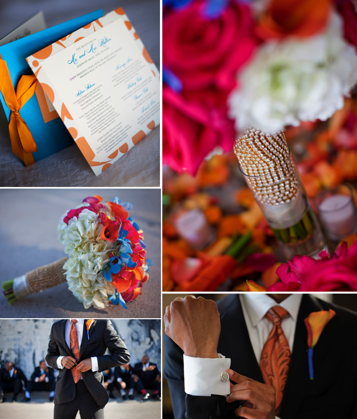orange and pink beach wedding invites