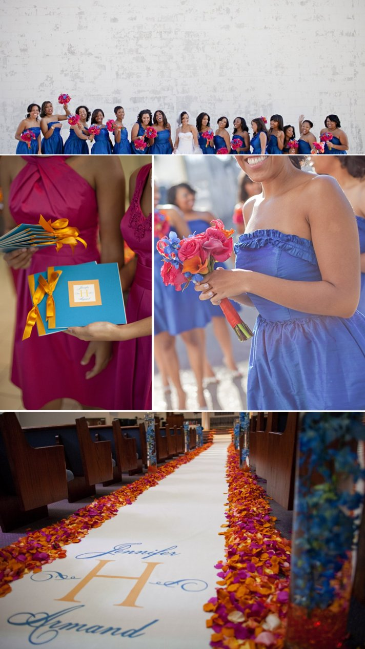 blue bridesmaids dresses colorful flowers