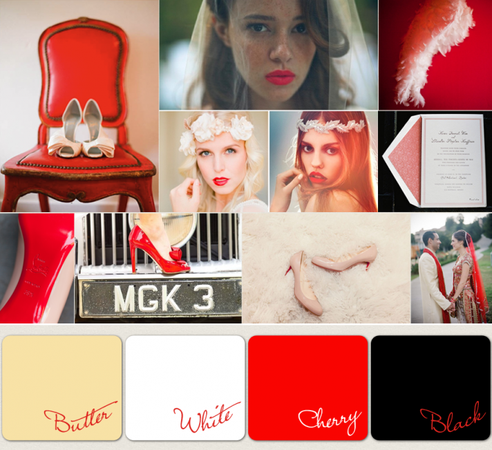 wedding color palettes 2012 red black white ivory We 39ve said it before
